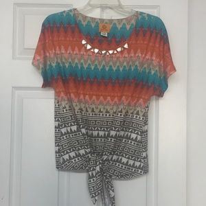 Ruby Rd southwest print short sleeve top tie front